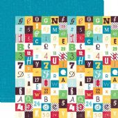 Echo Park - School Days - Numbers and Letters 12x12 Cardstock - SW2203